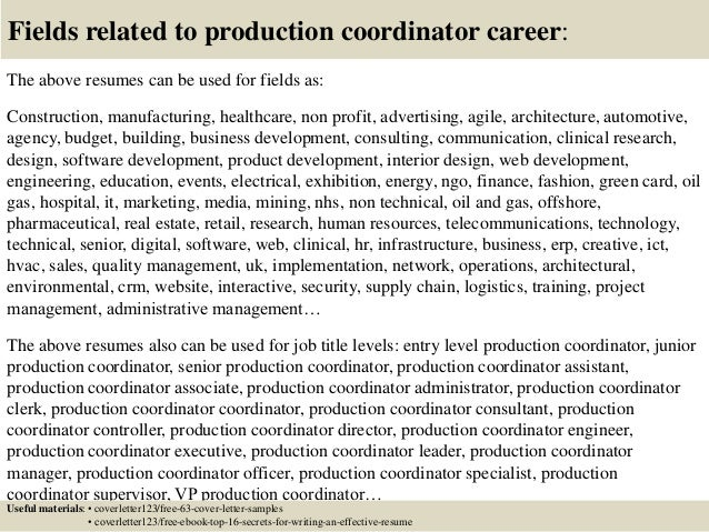 sample production coordinator cover letter