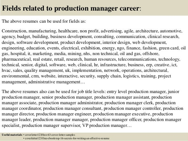 Exceptional ... 16. Fields Related To Production Manager ...