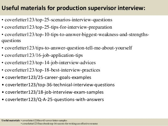 Cover Letter Examples Production Supervisor Production Supervisor ...