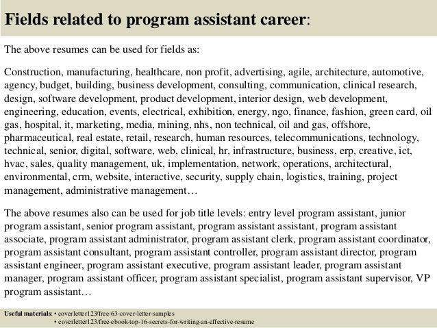 Top 5 program assistant cover letter samples