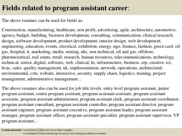 ... 16. Fields Related To Program Assistant ...
