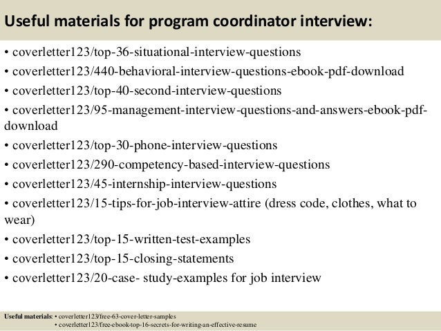 12 useful materials for program coordinator