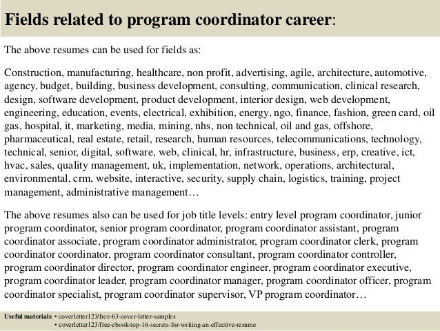 program coordinator cover letters