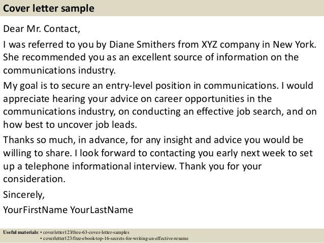 cover letter referral samples