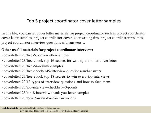 Top 5 project coordinator cover letter samples for Scheduling coordinator cover letter