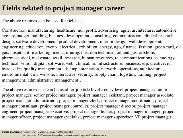 ... 16. Fields Related To Project Manager ...  Entry Level Project Manager