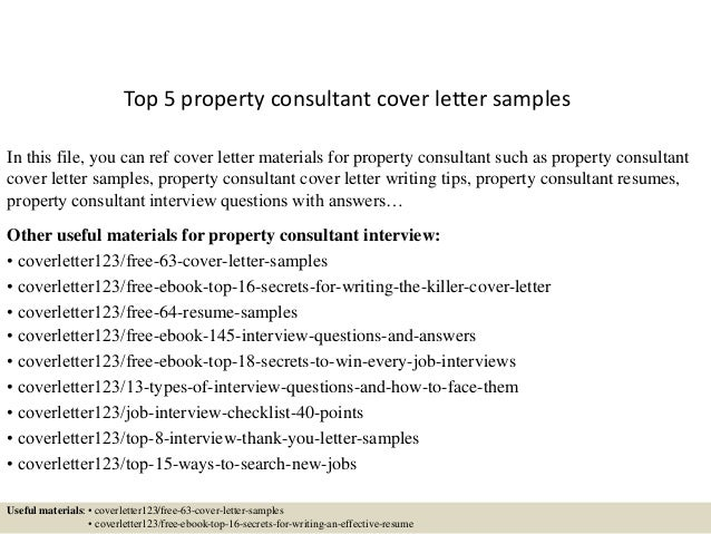 Top 5 Property Consultant Cover Letter Samples In This File, You Can Ref Cover  Letter ...