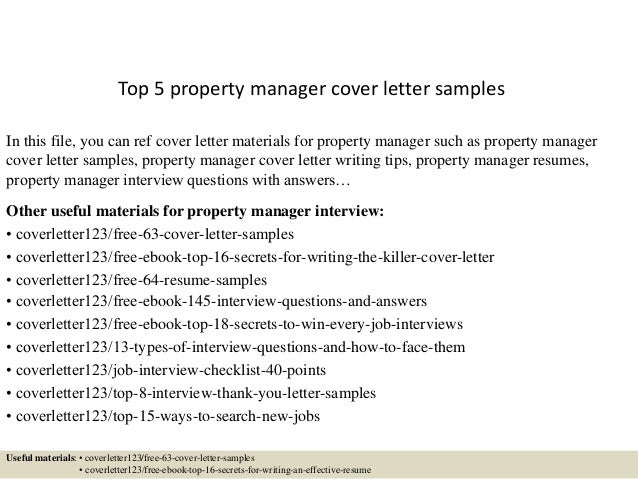Top 5 Property Manager Cover Letter Samples In This File You Can Ref