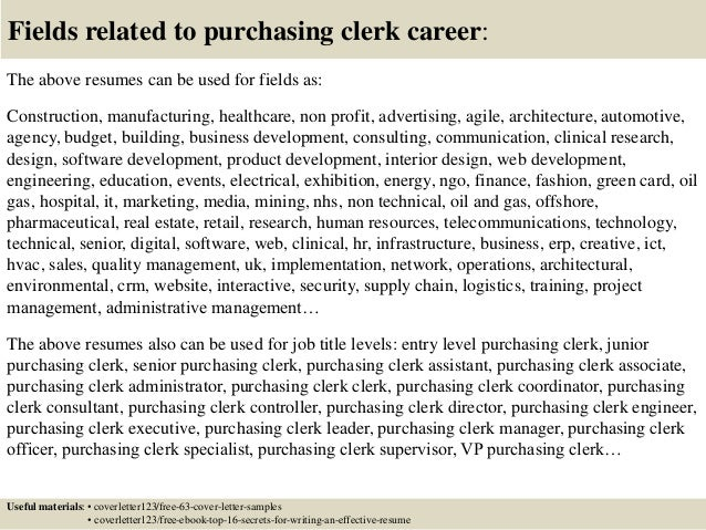 Top  Purchasing Clerk Cover Letter Samples