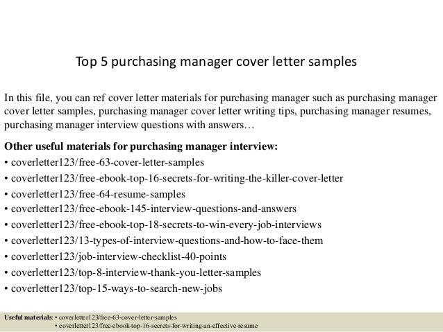 Top 5 Purchasing Manager Cover Letter Samples Rh Slideshare Net Executive  Resume Cover Letter Examples Best Executive Cover Letter