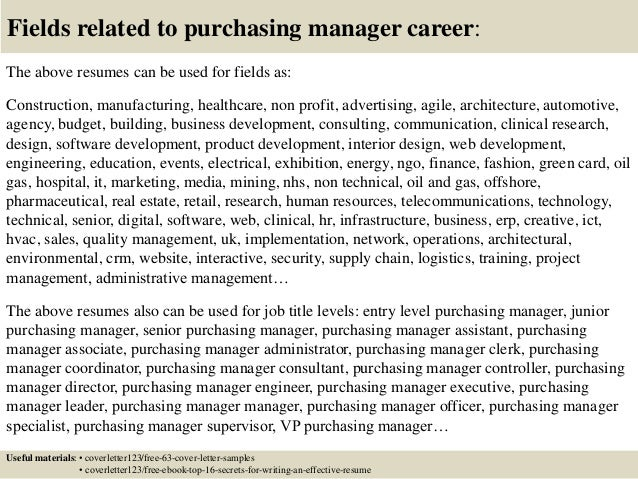 cover letter for purchasing job