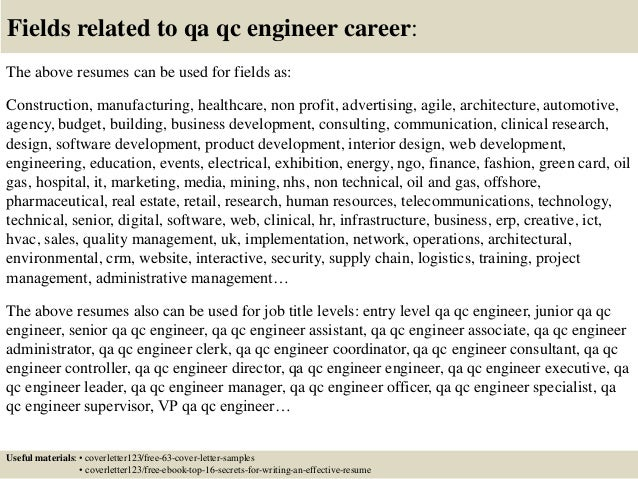 Top  Qa Qc Engineer Cover Letter Samples