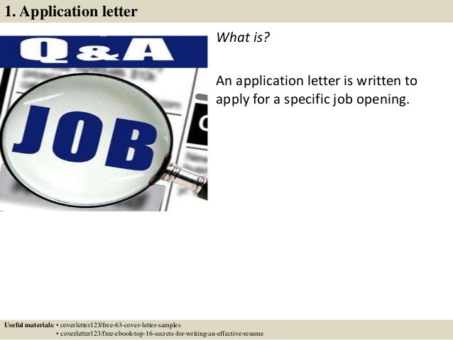 2 1 application letter - Application Cover Letter Examples