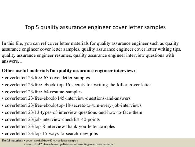 top 5 quality assurance engineer cover letter samples in this file you can ref cover