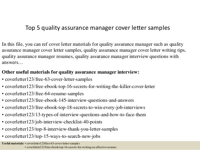 Top 5 Quality Assurance Manager Cover Letter Samples In This File You Can Ref