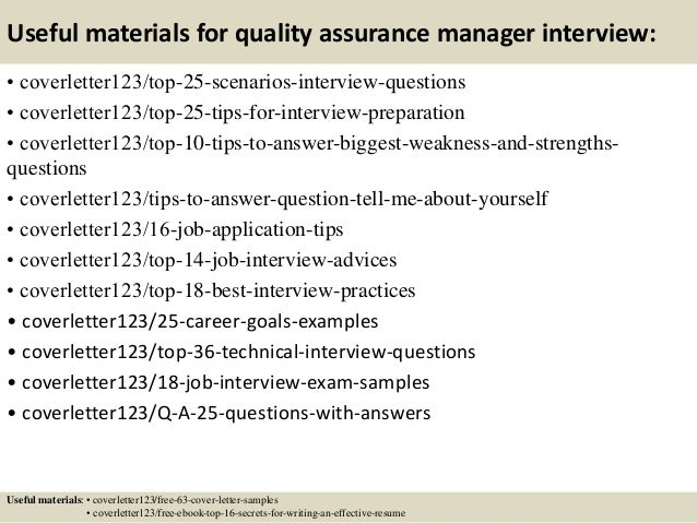 ... 13. Useful Materials For Quality Assurance ...