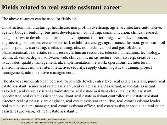 16 fields related to real estate assistant career - Cover Letter For Real Estate Job