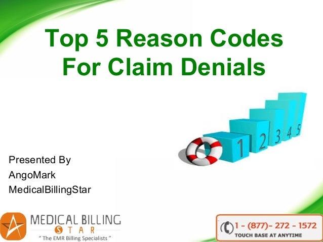 Top 5 Reason Codes For Claim Denials Presented By AngoMark MedicalBillingStar