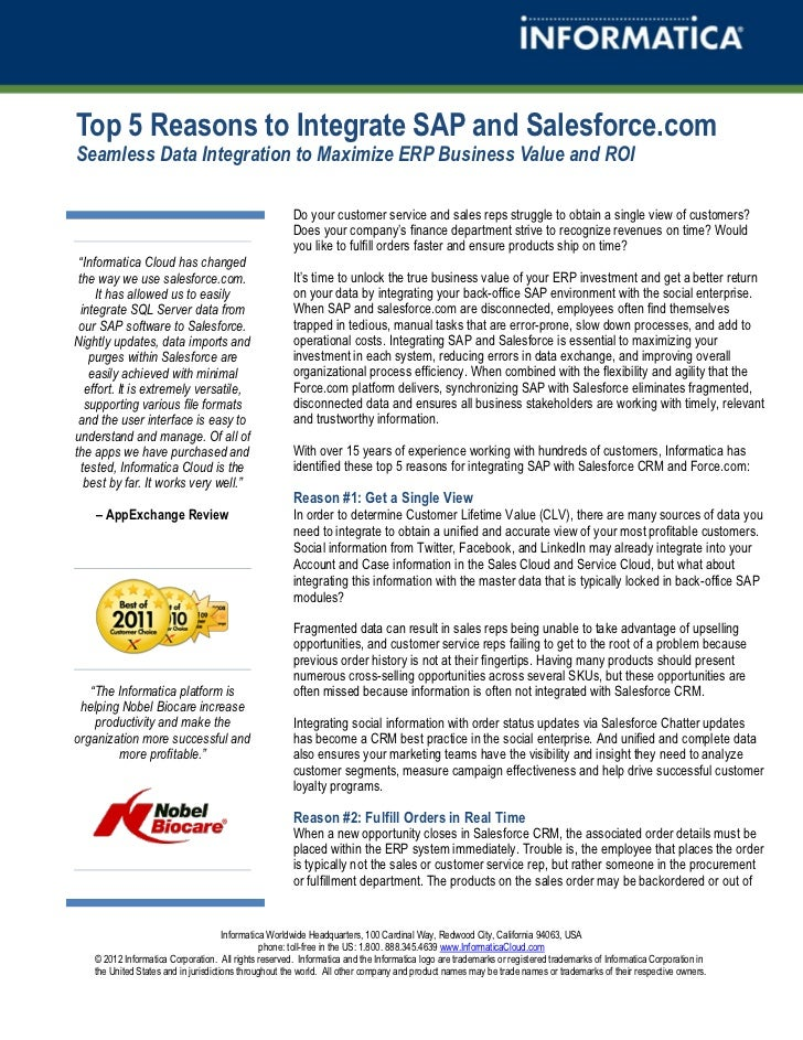 Top 5 Reasons to Integrate SAP and Salesforce.comSeamless Data Integration to Maximize ERP Business Value and ROI         ...