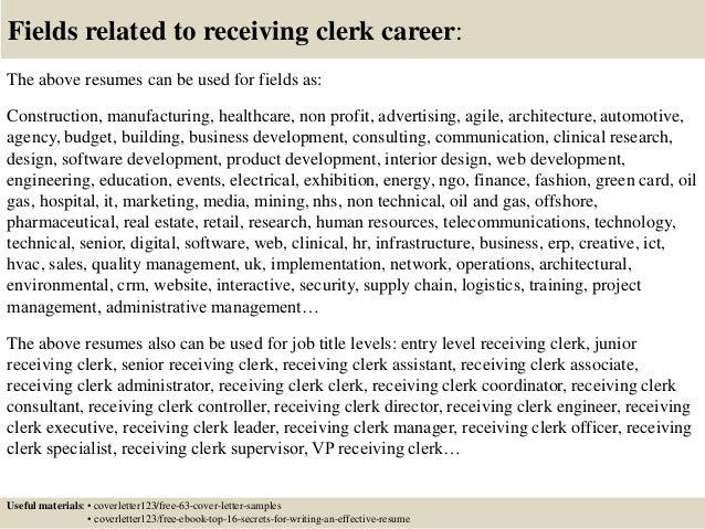 Top 5 receiving clerk cover letter samples