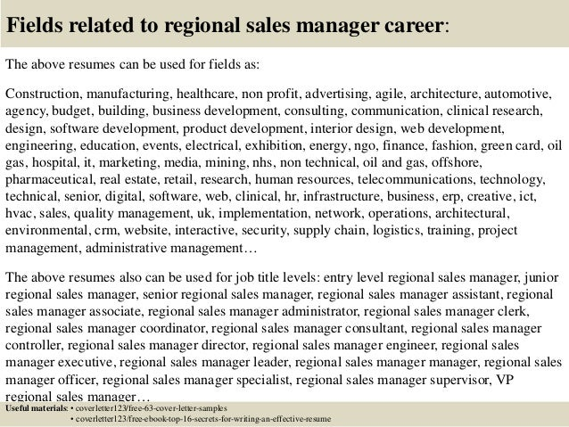 16 fields related to regional sales manager - Regional Sales Manager Cover Letter