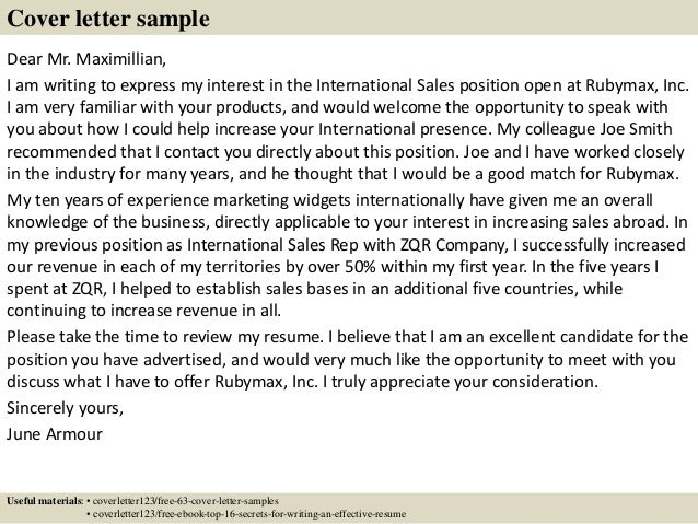 Sales Cover Letters Pinterest