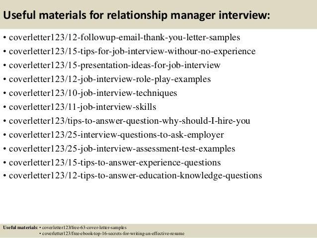 relationship manager cover letter resume cv cover letter