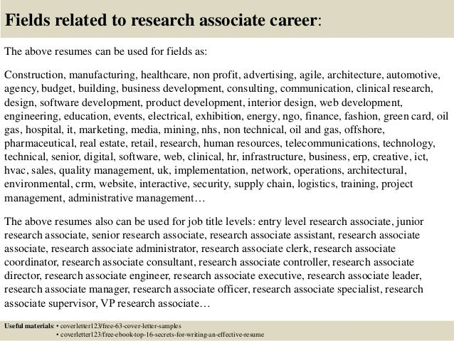 Top 5 Research Associate Cover Letter Samples Entry Level Clinical Resume