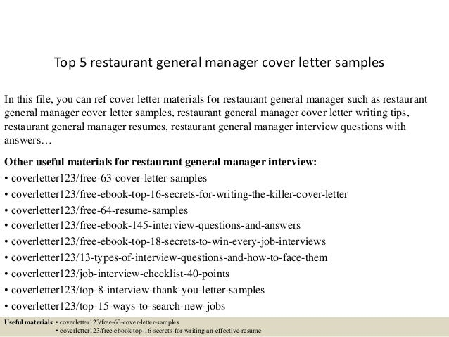 Top 5 Restaurant General Manager Cover Letter Samples In This File You Can Ref