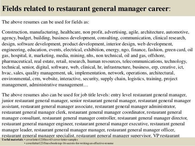 16 Fields Related To Restaurant General Manager