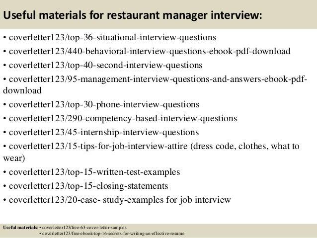 restaurant manager cover letter samples
