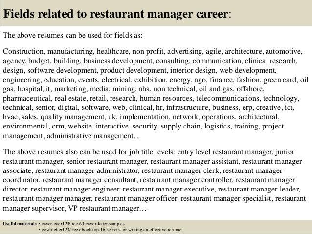 restaurant assistant manager cover letter