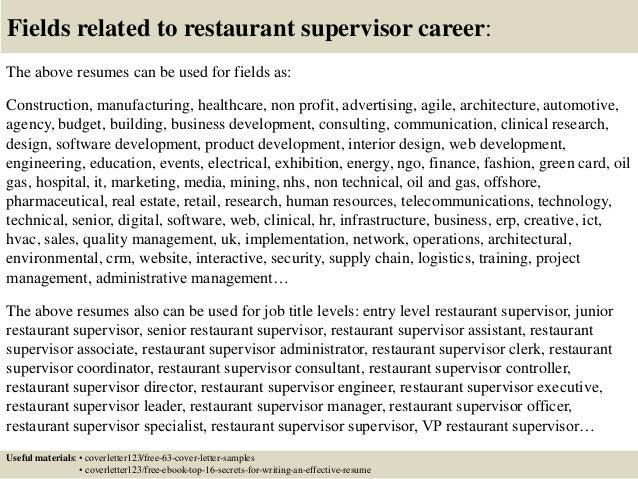 ... 16. Fields Related To Restaurant Supervisor ...