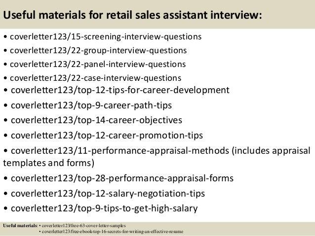 cover letter retail sales assistant