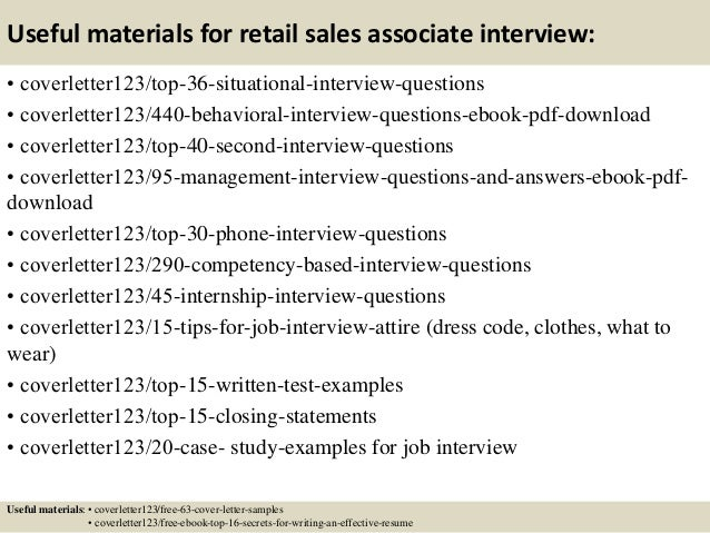 12 useful materials for retail sales associate - Retail Sales Associate Cover Letter