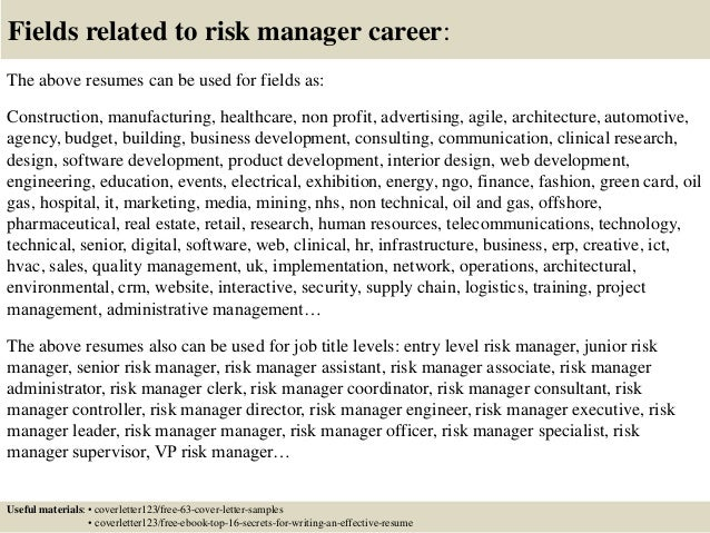 Cover Letters For Risk Manager Position. Operationalriskmanagercoverletter  140927205256 ...