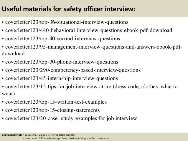 ... 12. Useful Materials For Safety ...