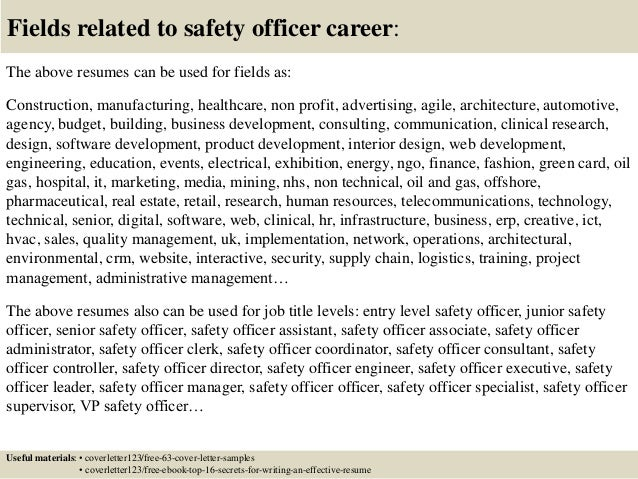 ... 16. Fields Related To Safety ...