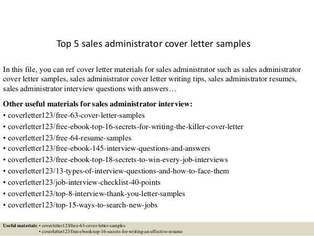 Sales Sample Cover Letter. Sales Administration Cover Letter ...