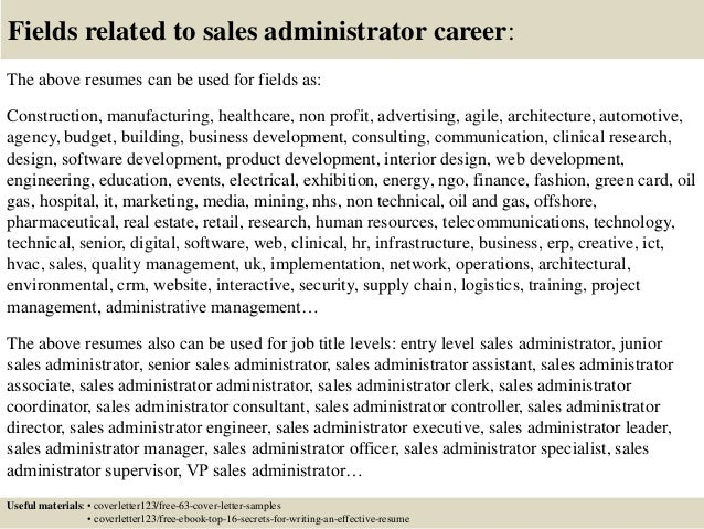 16 fields related to sales administrator