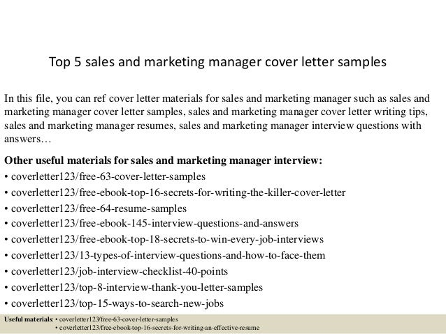 Top 5 Sales And Marketing Manager Cover Letter Samples In This File, ...