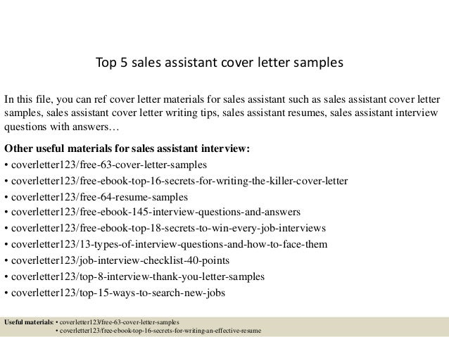 Top 5 sales assistant cover letter samples for Cover letter for a sales assistant job