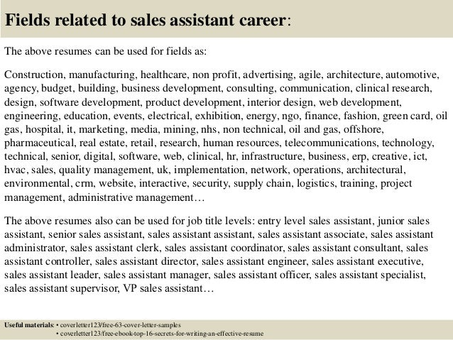 ... 16. Fields Related To Sales Assistant ...