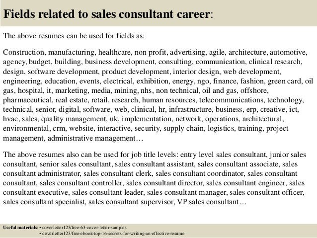 Marvelous ... 16. Fields Related To Sales Consultant Career: ...