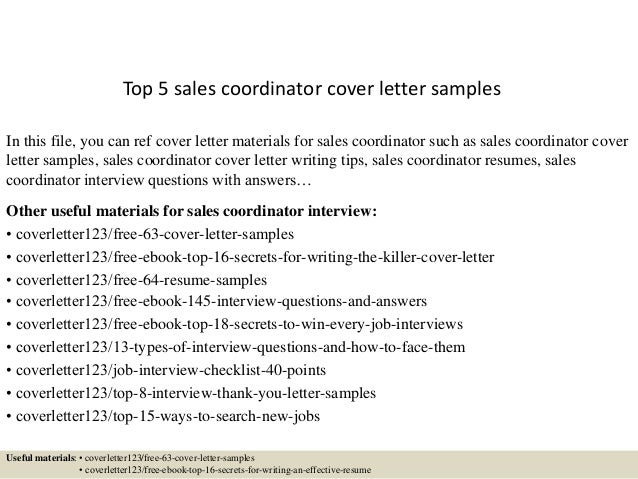 Amazing Top 5 Sales Coordinator Cover Letter Samples In This File, You Can Ref Cover  Letter ...