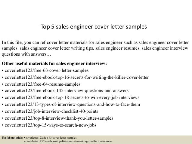 Top 5 Sales Engineer Cover Letter Samples In This File You Can Ref