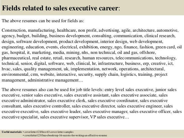 ... 16. Fields Related To Sales Executive ...