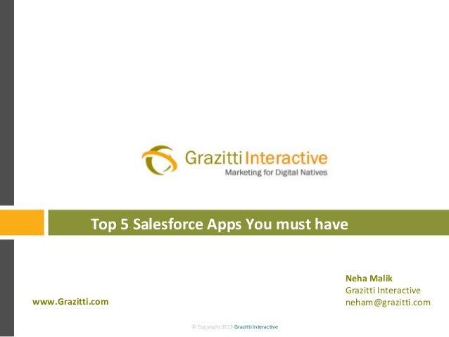 © Copyright 2013 Grazitti Interactive© Copyright 2013 Grazitti Interactive Top 5 Salesforce Apps You must have www.Grazitt...