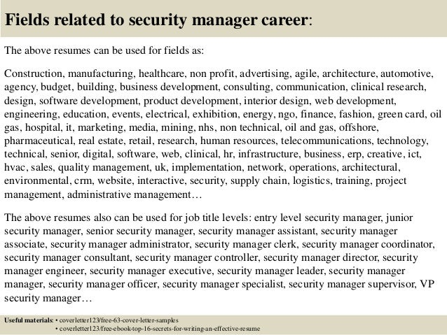 16 fields related to security manager. Resume Example. Resume CV Cover Letter