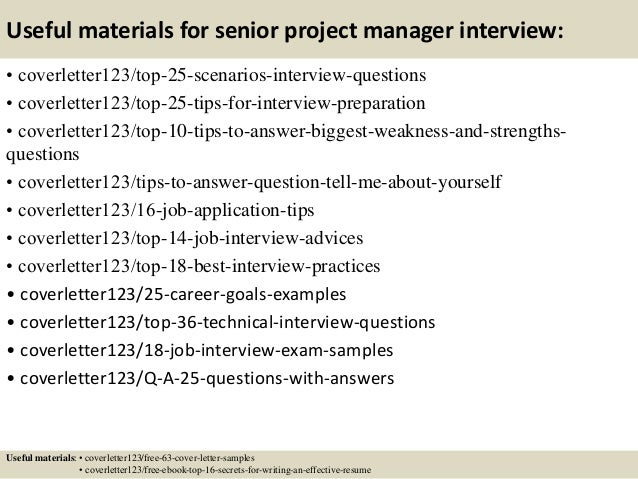 13 useful materials for senior project manager - Project Manager Resume Cover Letter